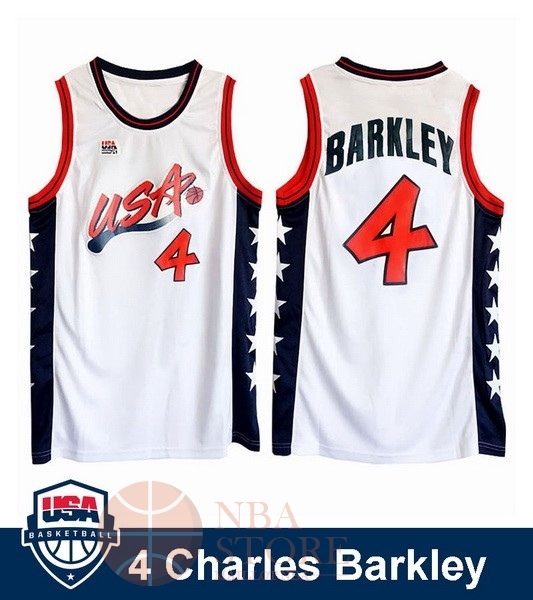 Classic Maillot NBA 1996 USA Charles Barkley NO.4 Blanc