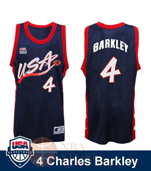 Classic Maillot NBA 1996 USA Charles Barkley NO.4 Noir