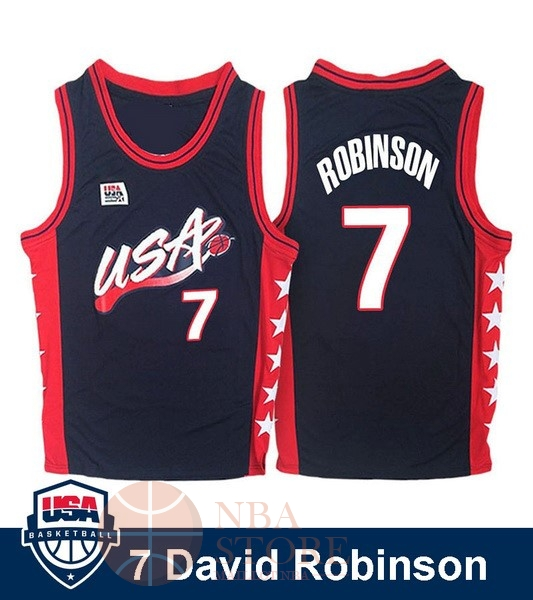 Classic Maillot NBA 1996 USA David Robinson NO.7 Noir