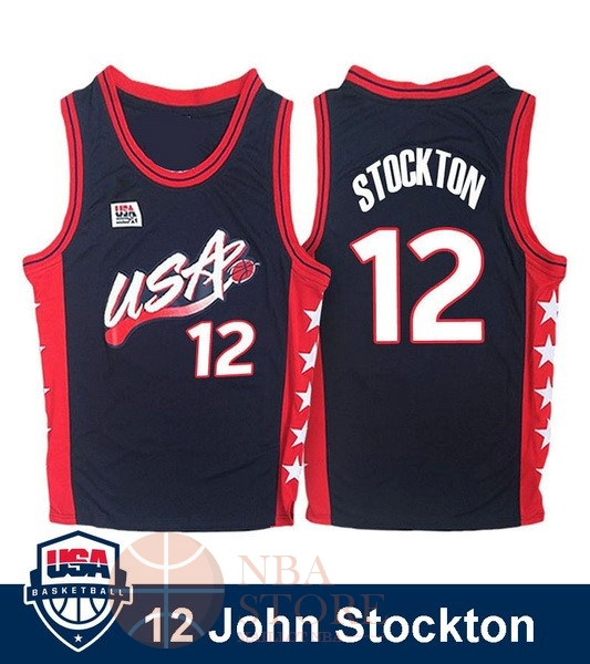 Classic Maillot NBA 1996 USA John Stockton NO.12 Noir
