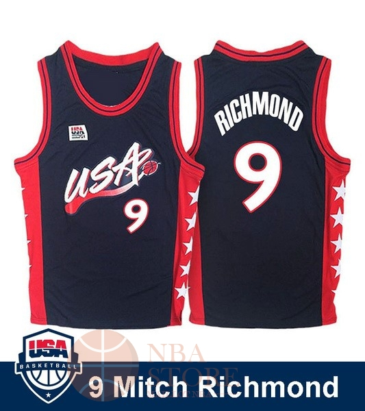 Classic Maillot NBA 1996 USA Mitch Richmond NO.9 Noir