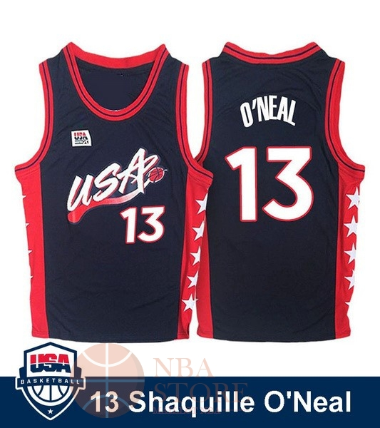 Classic Maillot NBA 1996 USA Shaquille O'neal NO.13 Noir