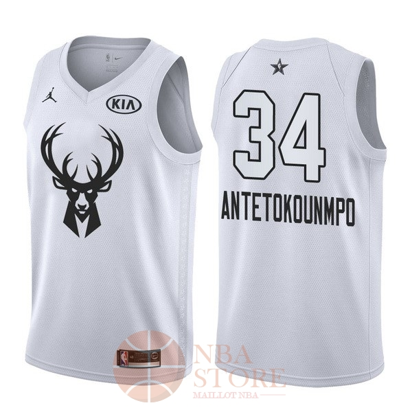Classic Maillot NBA 2018 All Star NO.34 Giannis Antetokounmpo Blanc