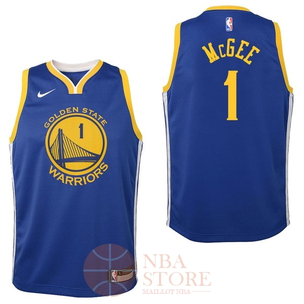 Classic Maillot NBA Enfant Golden State Warriors NO.1 JaVale McGee Bleu Icon 2017-18