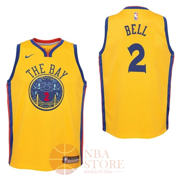Classic Maillot NBA Enfant Golden State Warriors NO.2 Jordan Bell Nike Jaune Ville 2017-18