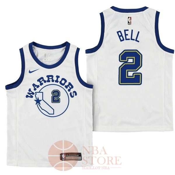 Classic Maillot NBA Enfant Golden State Warriors NO.2 Jordan Bell Nike Retro Blanc 2017-18