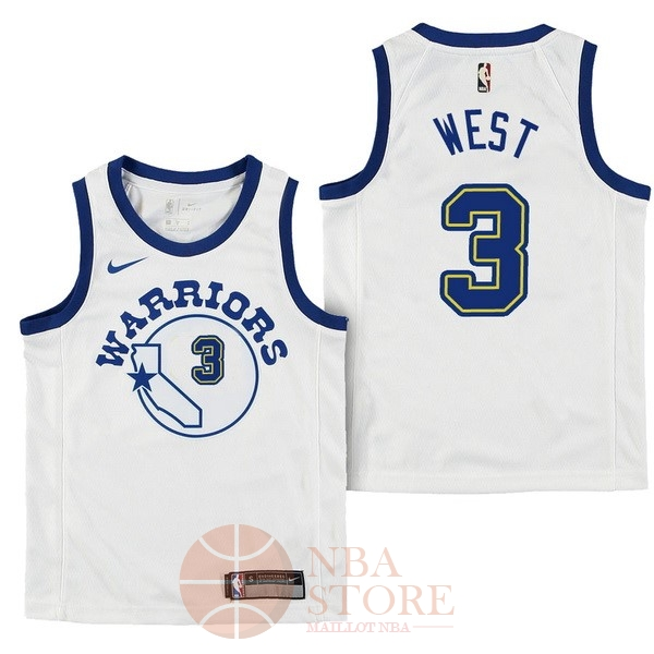 Classic Maillot NBA Enfant Golden State Warriors NO.3 David West Nike Retro Blanc 2017-18