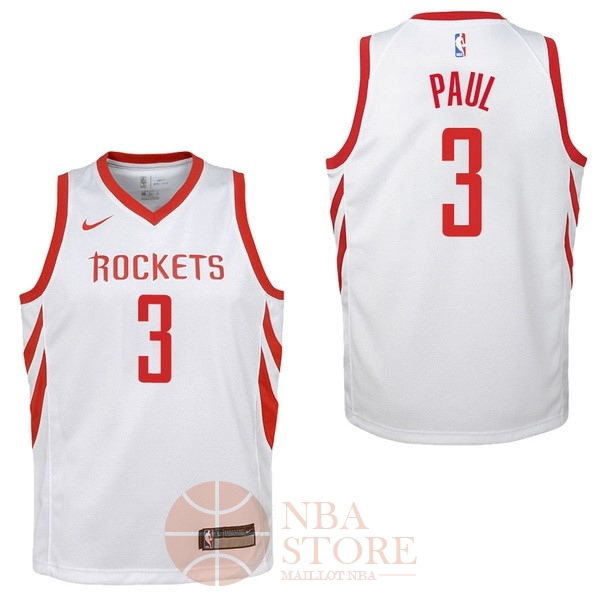 Classic Maillot NBA Enfant Houston Rockets NO.3 Chris Paul Blanc Association 2017-18