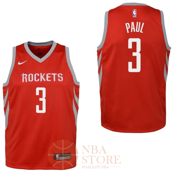 Classic Maillot NBA Enfant Houston Rockets NO.3 Chris Paul Rouge Icon 2017-18