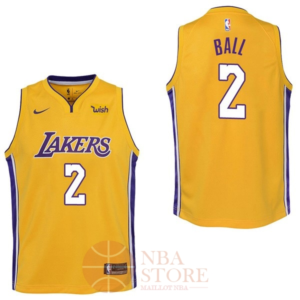 Classic Maillot NBA Enfant Los Angeles Lakers NO.2 Lonzo Ball Jaune 2017-18