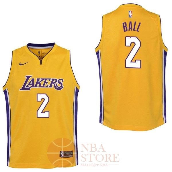 Classic Maillot NBA Enfant Los Angeles Lakers NO.2 Lonzo Ball Jaune Icon 2017-18
