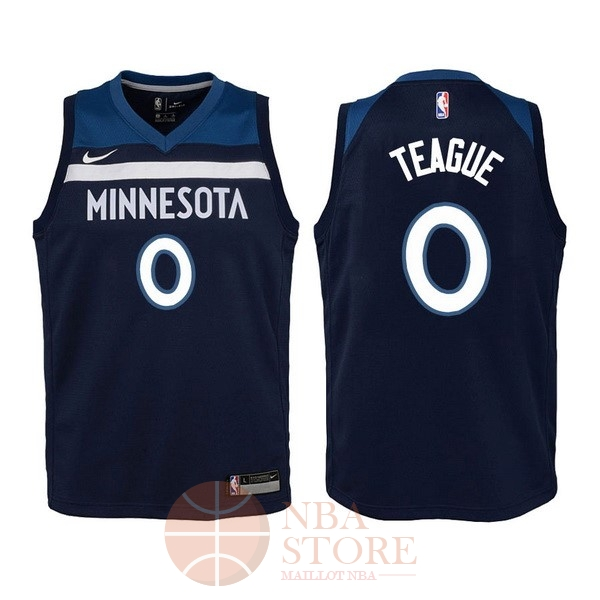 Classic Maillot NBA Enfant Minnesota Timberwolves NO.0 Jeff Teague Marine Icon 2017-18