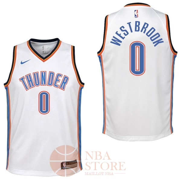 Classic Maillot NBA Enfant Oklahoma City Thunder NO.0 Russell Westbrook Blanc Association 2017-18