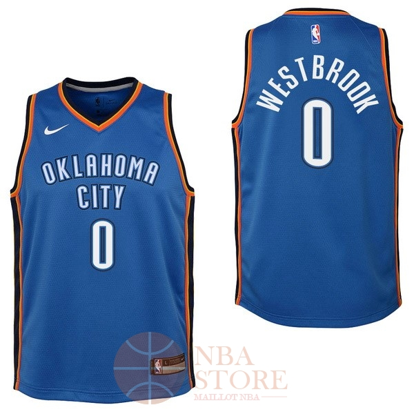 Classic Maillot NBA Enfant Oklahoma City Thunder NO.0 Russell Westbrook Bleu Icon 2017-18
