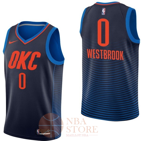 Classic Maillot NBA Enfant Oklahoma City Thunder NO.0 Russell Westbrook Marine Statement 2017-18