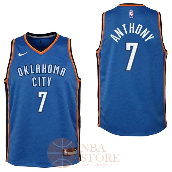 Classic Maillot NBA Enfant Oklahoma City Thunder NO.7 Carmelo Anthony Bleu Icon 2017-18