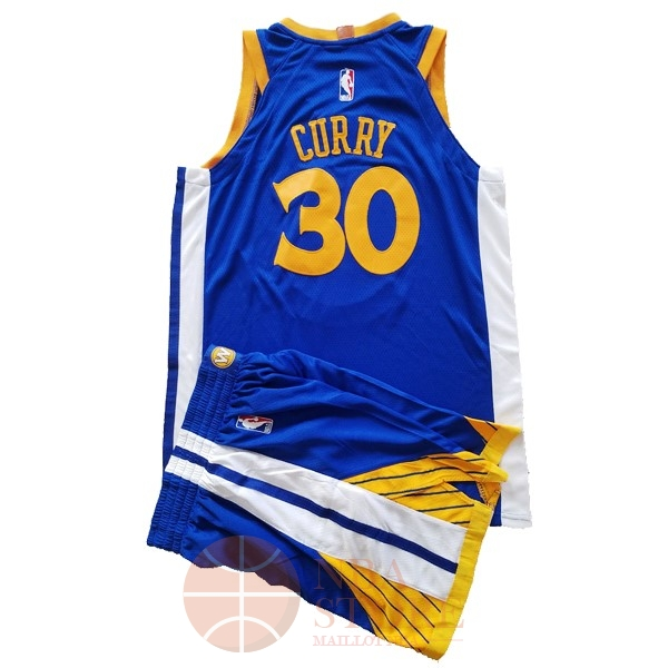 Classic Maillot NBA Ensemble Complet Enfant Golden State Warriors NO.30 Stephen Curry Bleu 2017-18