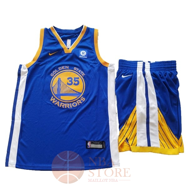 Classic Maillot NBA Ensemble Complet Enfant Golden State Warriors NO.35 Kevin Durant Bleu 2017-18
