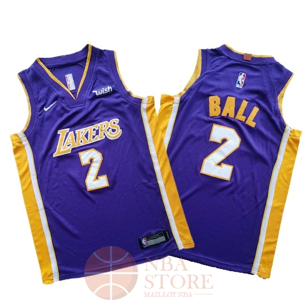 Classic Maillot NBA Ensemble Complet Enfant Los Angeles Lakers NO.2 Lonzo Ball Pourpre 2017-18