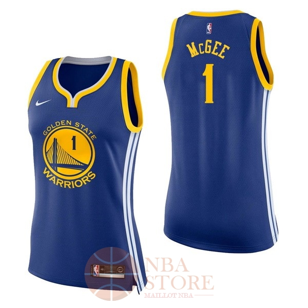 Classic Maillot NBA Femme Golden State Warriors NO.1 JaVale McGee Bleu Icon