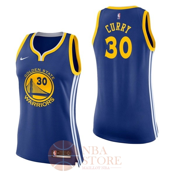 Classic Maillot NBA Femme Golden State Warriors NO.30 Stephen Curry Bleu Icon