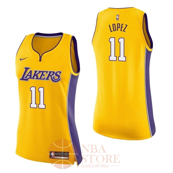 Classic Maillot NBA Femme Los Angeles Lakers NO.11 Brook Lopez Jaune Icon