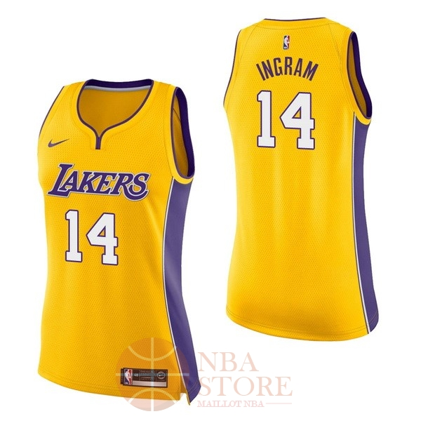 Classic Maillot NBA Femme Los Angeles Lakers NO.14 Brandon Ingram Jaune Icon