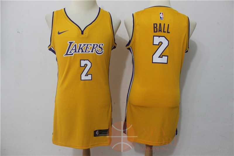Classic Maillot NBA Femme Los Angeles Lakers NO.2 Lonzo Ball Jaune Icon