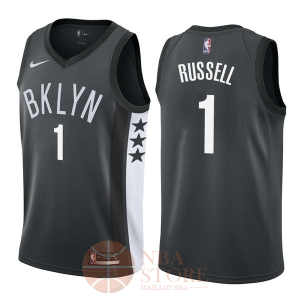 Classic Maillot NBA Nike Brooklyn Nets NO.1 D'Angelo Russell Noir Statement