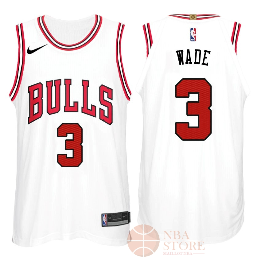 Classic Maillot NBA Nike Chicago Bulls NO.3 Dwyane Wade Blanc Association
