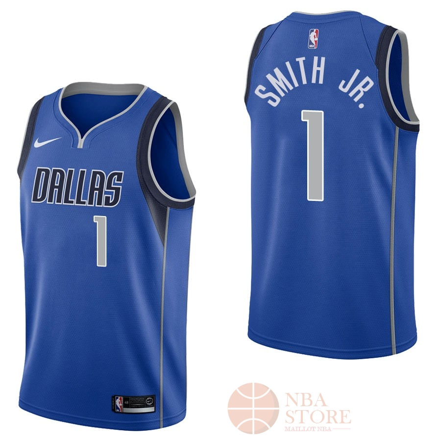 Classic Maillot NBA Nike Dallas Mavericks NO.1 Dennis Smith Jr Bleu Icon