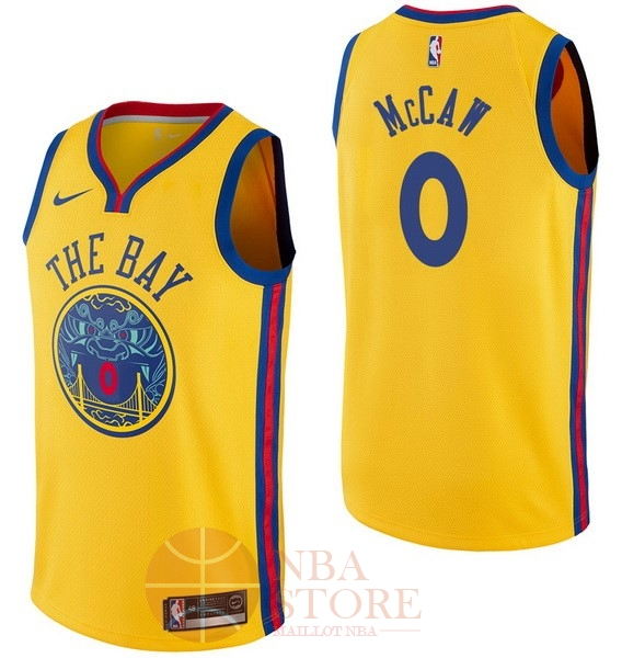 Classic Maillot NBA Nike Golden State Warriors NO.0 Patrick McCaw Nike Jaune Ville