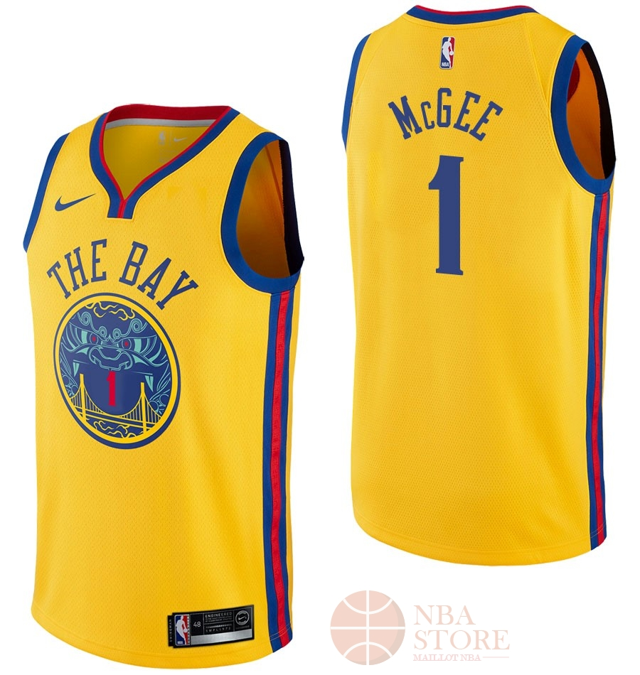Classic Maillot NBA Nike Golden State Warriors NO.1 JaVale McGee Nike Jaune Ville