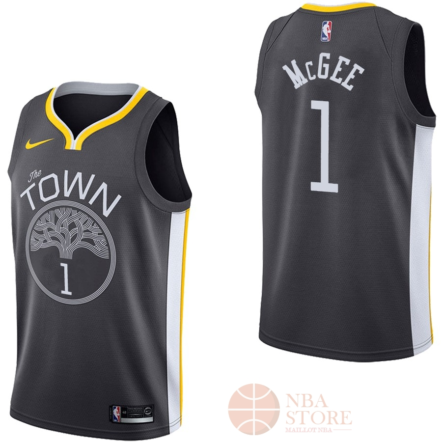 Classic Maillot NBA Nike Golden State Warriors NO.1 JaVale McGee Noir Statement
