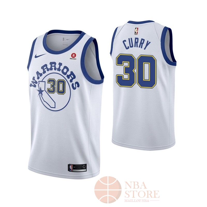 Classic Maillot NBA Nike Golden State Warriors NO.30 Stephen Curry Retro Blanc