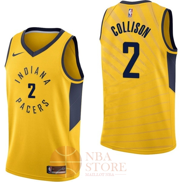 Classic Maillot NBA Nike Indiana Pacers NO.2 Darren Collison Jaune Statement