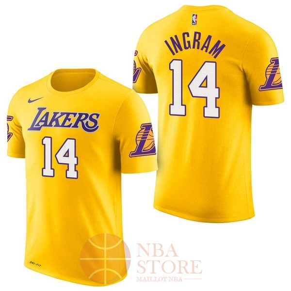Classic Maillot NBA Nike Los Angeles Lakers Manche Courte NO.14 Brandon Ingram Jaune