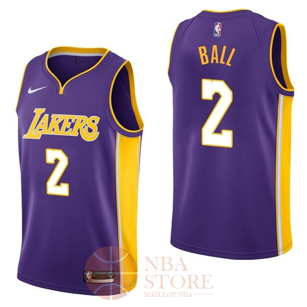 c6c4ba3d46b Classic Maillot NBA Nike Los Angeles Lakers NO.2 Lonzo Ball Pourpre  Statement