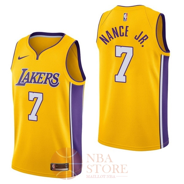 Classic Maillot NBA Nike Los Angeles Lakers NO.7 Larry Nance Jr Jaune Icon