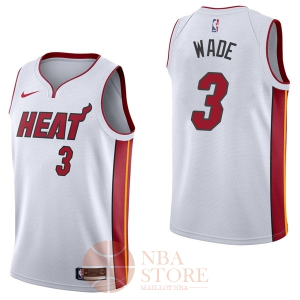 Classic Maillot NBA Nike Miami Heat NO.3 Dwyane Wade Blanc Association