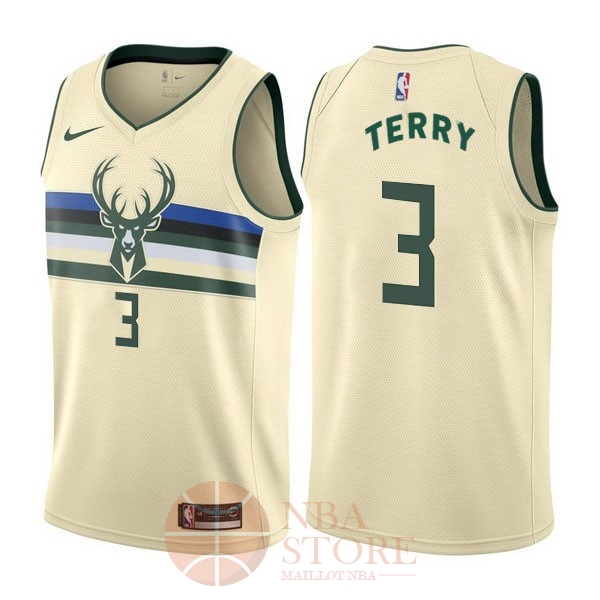 Classic Maillot NBA Nike Milwaukee Bucks NO.3 Jason Terry Nike Crème Ville