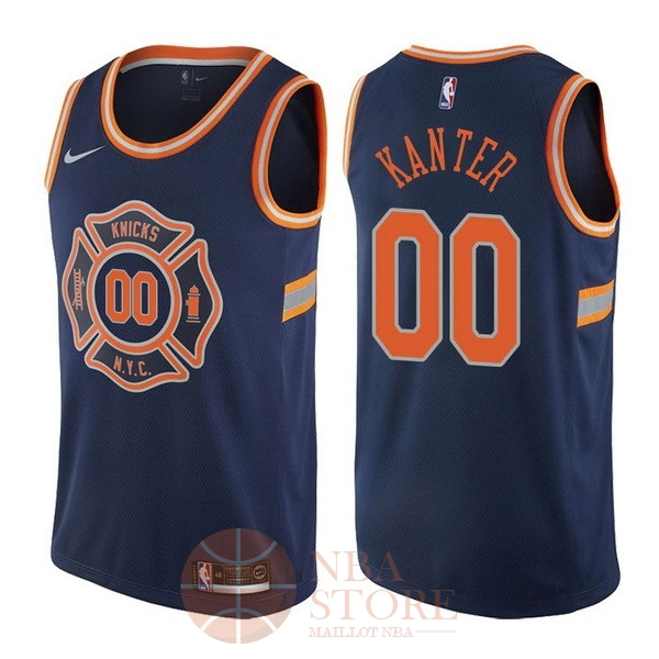Classic Maillot NBA Nike New York Knicks NO.0 Enes Kanter Nike Bleu Ville