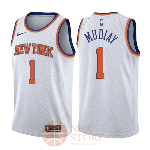 Classic Maillot NBA Nike New York Knicks NO.1 Emmanuel Mudiay Blanc Association