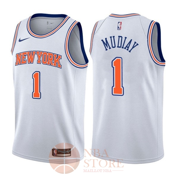 Classic Maillot NBA Nike New York Knicks NO.1 Emmanuel Mudiay Blanc Statement