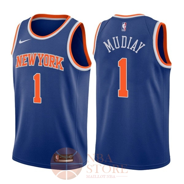 Classic Maillot NBA Nike New York Knicks NO.1 Emmanuel Mudiay Bleu Icon