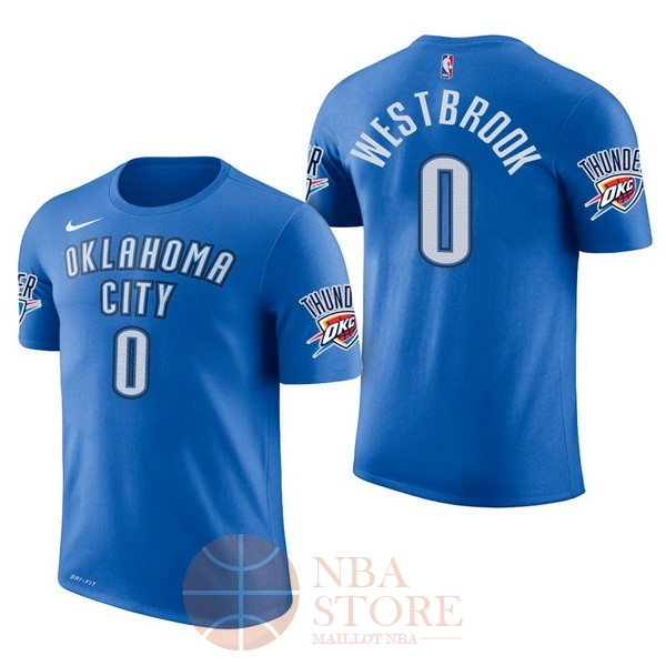 13864c7deb7fb Classic Maillot NBA Nike Oklahoma City Thunder Manche Courte NO.0 Russell  Westbrook Bleu