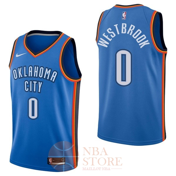 Classic Maillot NBA Nike Oklahoma City Thunder NO.0 Russell Westbrook Bleu Icon