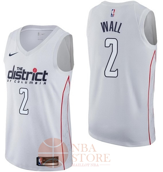 Classic Maillot NBA Nike Washington Wizards NO.2 John Wall Nike Blanc Ville