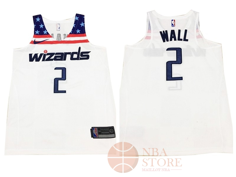 Classic Maillot NBA Nike Washington Wizards NO.2 John Wall Tout Blanc