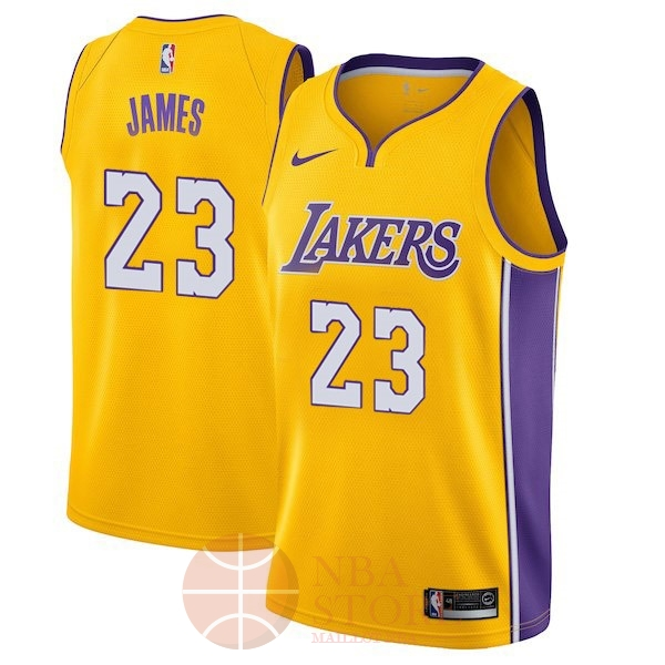 Classic Maillot NBA Enfant Los Angeles Lakers NO.23 LeBron James Jaune Icon 2017-18